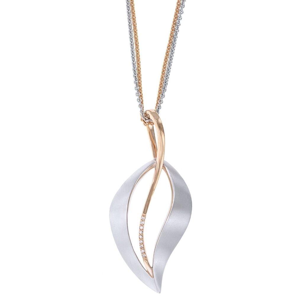 Silver two tone breuning leaf pendant