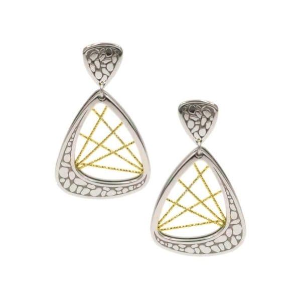 Sterling Silver & yellow Gold earrings