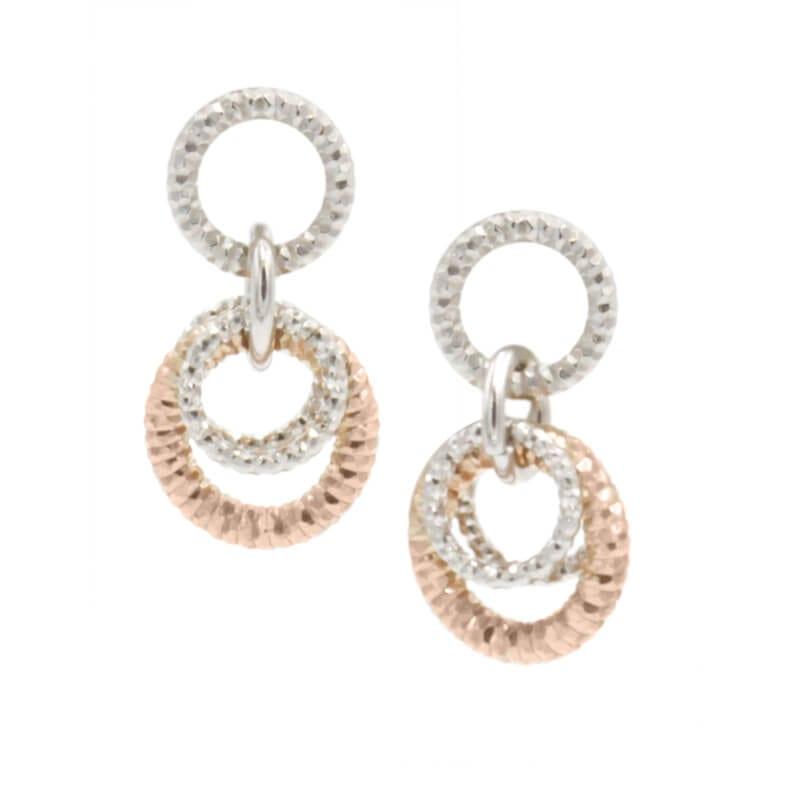 Sterling Silver & rose Gold earrings