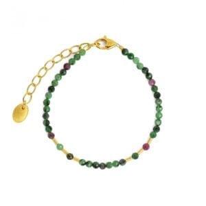 Silver ruby-zoisite bracelet
