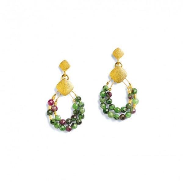 silver ruby-zoisite earrings