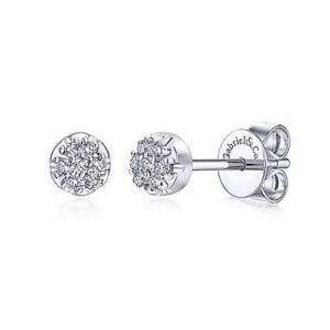 diamond cluster round stud earrings