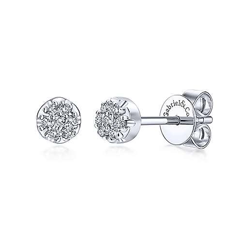 diamond cluster round stud earrings