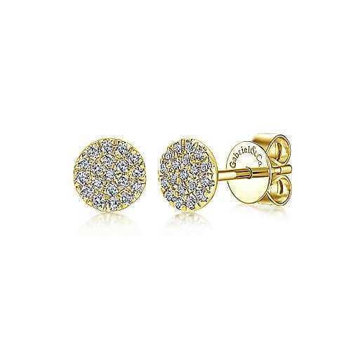 Gold cluster diamond stud earrings