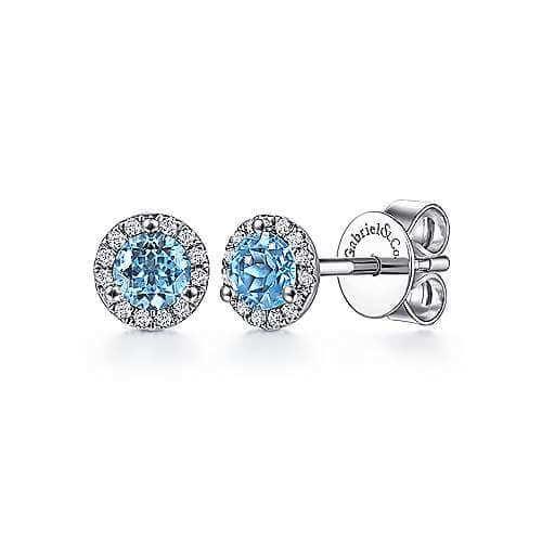 blue topz & diamond halo earrings