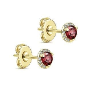 Garnet & Diamond halo earrings