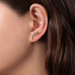 curved bar diamond earrings