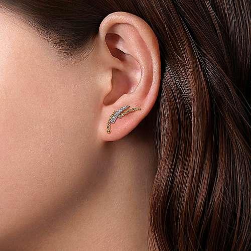 curved bar diamond earrings