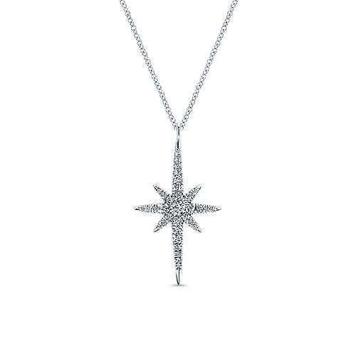 white gold diamond star necklace