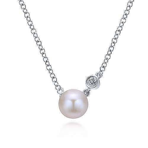 925 silver white pearl necklace