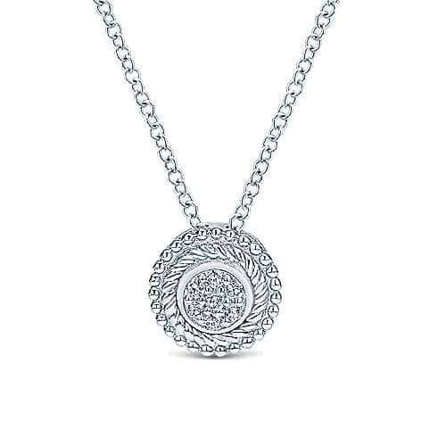 925 Silver round Diamond cluster pendant