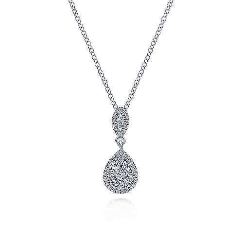 white gold pear shaped diamond necklace