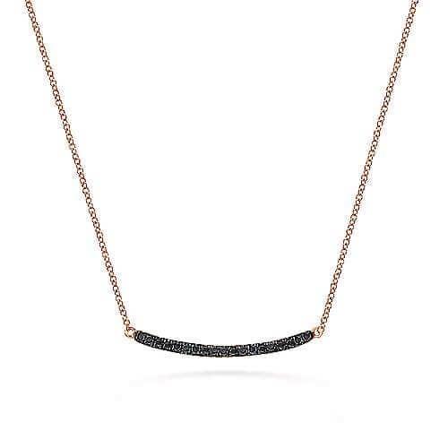rose gold black diamond bar necklace