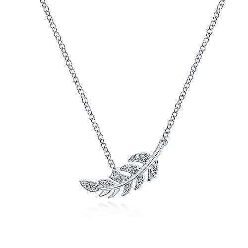 white gold leaf diamond pendant