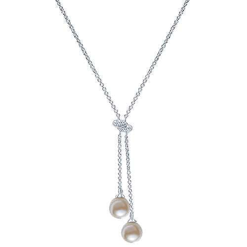 white gold pearl lariat necklace