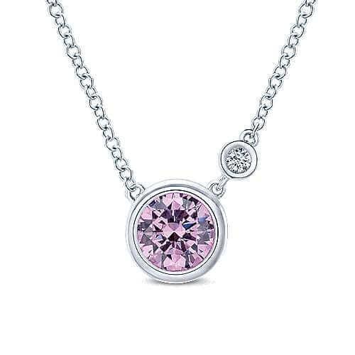 925 Silver Pink Zircon Pendant