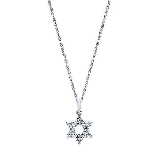 white gold star of David necklace