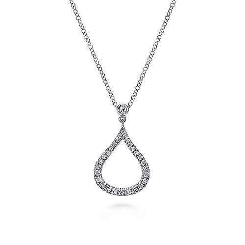 white gold teardrop diamond pendant