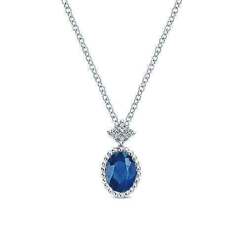 white gold sapphire & diamond necklace