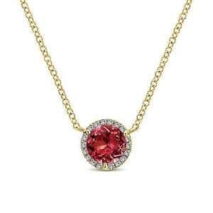 yellow gold garnet & diamond halo necklace
