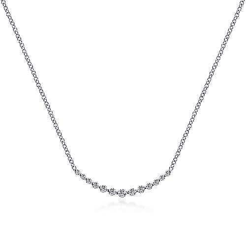 white gold curve bar diamond necklace