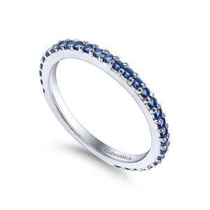 blue sapphire ladies white gold ring