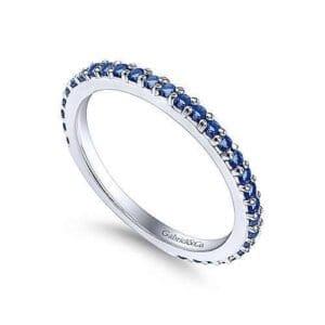 blue sapphire ladies white gold ring
