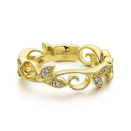 yellow gold floral diamond ring