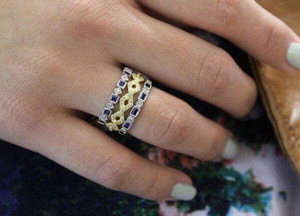 sapphire & diamond ring stacked