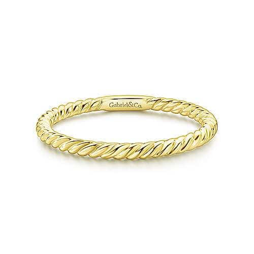 yellow gold twisted rope ring