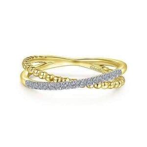 yellow gold criss cross diamond ring