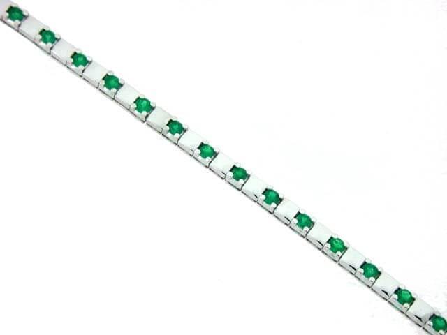 18kt white gold colombian emerald tennis bracelet