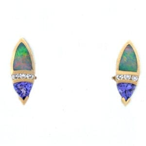 yellow gold tanzanite australian opal earrings