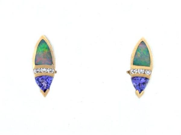 yellow gold tanzanite australian opal earrings