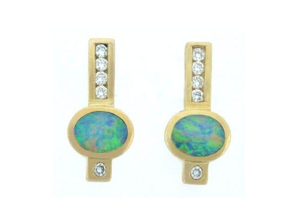 yellow gold australian opal diamond earrings