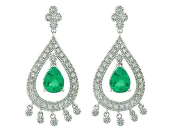 18KT White gold colombian emerald earrings from talori