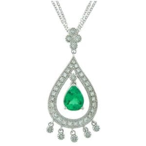 18kt white gold colombian emerald pendant