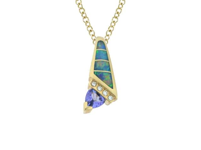yellow gold tanzanite opal pendant