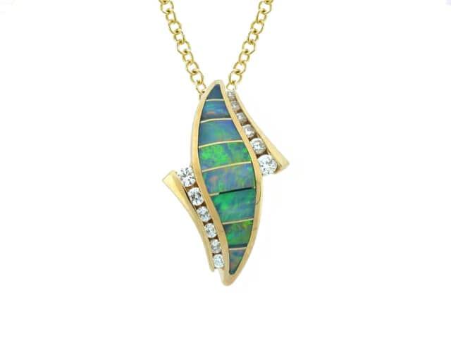 yellow gold diamond & opal pendant