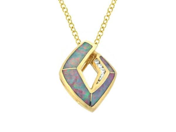 yellow gold australian opal pendant