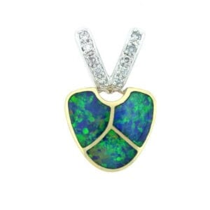 white & yellow gold opal diamond pendant