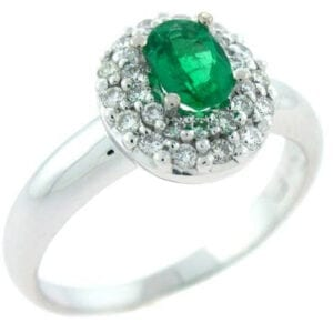 18kt white gold Oval colombian emerald diamond ring