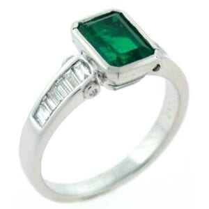 18kt white gold emerald cut colombian emerald diamond ring