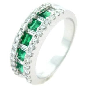 18kt white gold colombian emerald ring